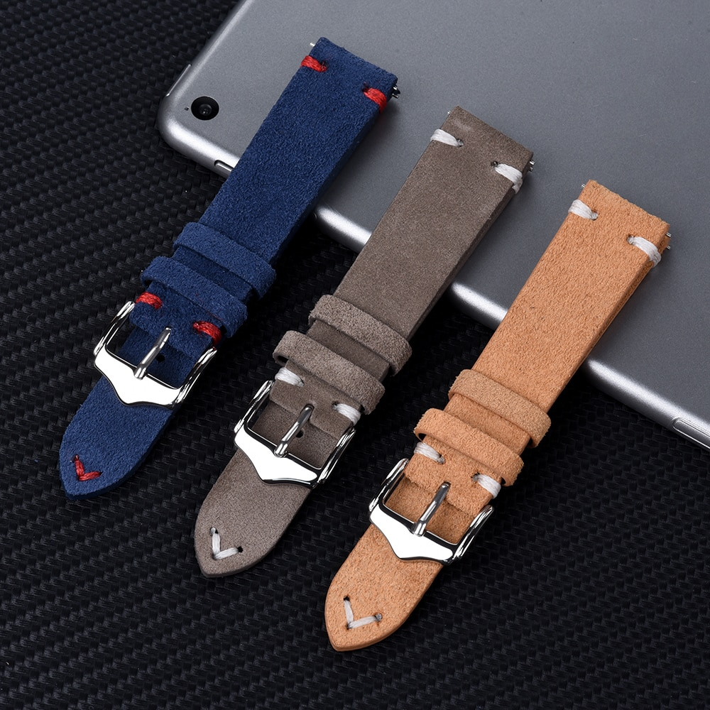 Premium Quality Watchband 20mm 22mm New Design Suede Leather Vintage Straps With Quick Release Spring Bars For Watch Accessories