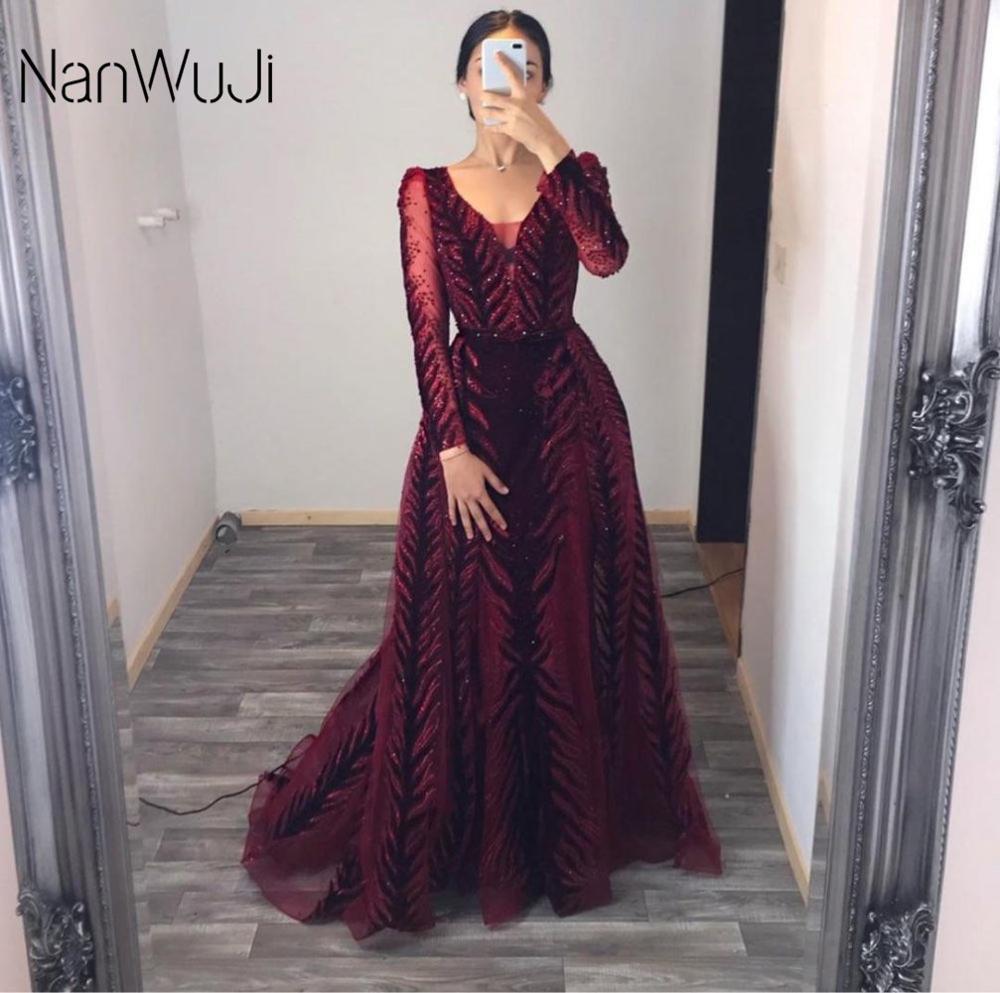Velvet Hunter Green Red Evening Dresses Long Sleeves Luxury Design Beading Evening Gowns 2019 In sto