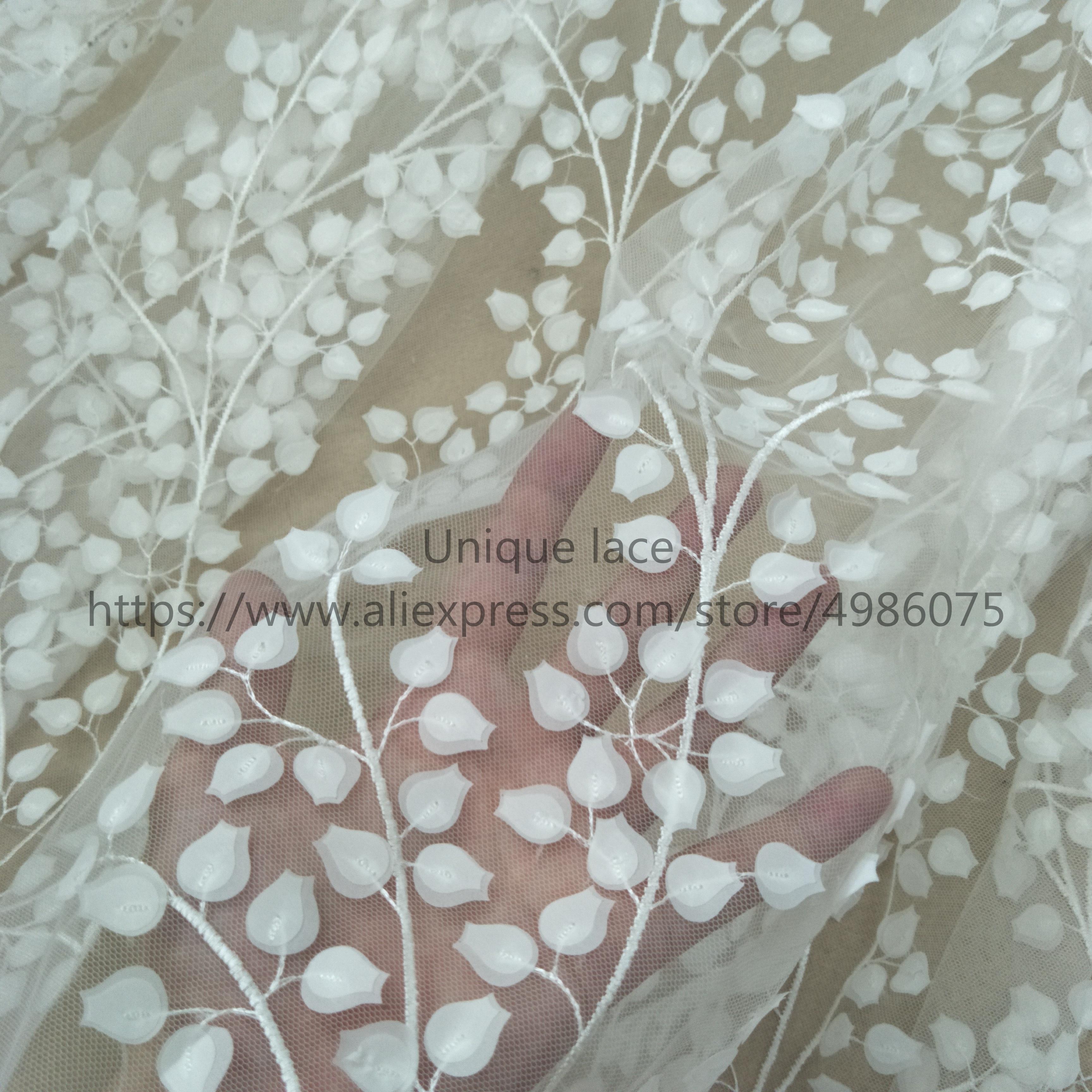 2019 Элегантное свадебное платье цвета слоновой кости, кружевная ткань, 3D листочки, Свадебное кружево, продажа по двору