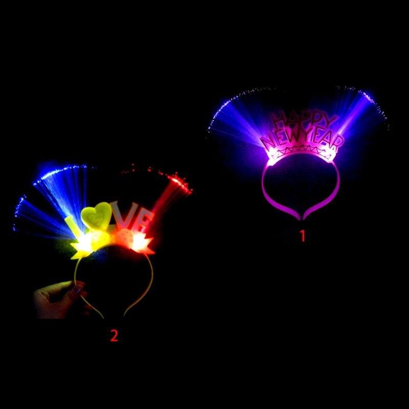 Dorosłe dzieci szczęśliwego nowego roku migające światłowodowe pałąk LED zapalają obręcz do włosów litery świecące na imprezę