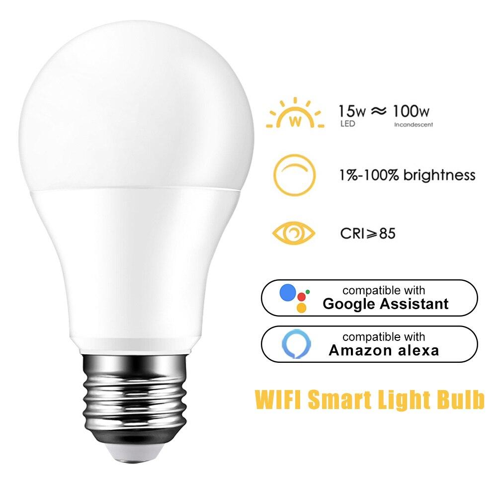 Bombilla de luz WiFi inteligente E27 15W bombilla de luz B22 E14 bombilla de Control de voz regulable Compatible con Alexa Google asistente