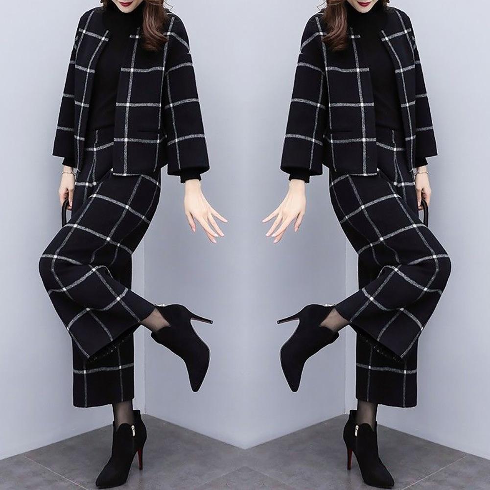 2 unids/set otoño mujer Plaid cuello redondo abrigo de lana corta pierna ancha Pantalones