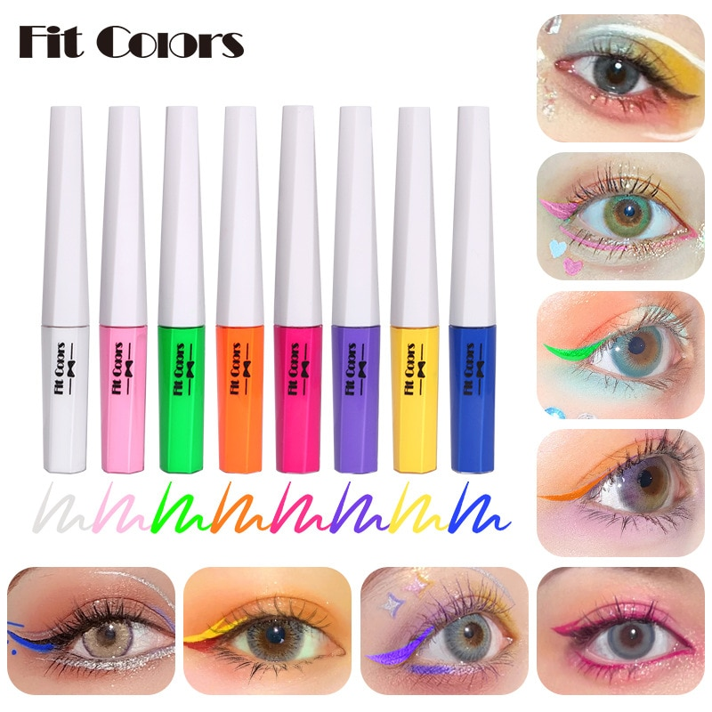 Fit Colors Fluorescent Luminous Color Liquid Eyeliner Pen Painted Eye Liner Pencil Waterproof Quick-drying Eye Makeup TSLM2