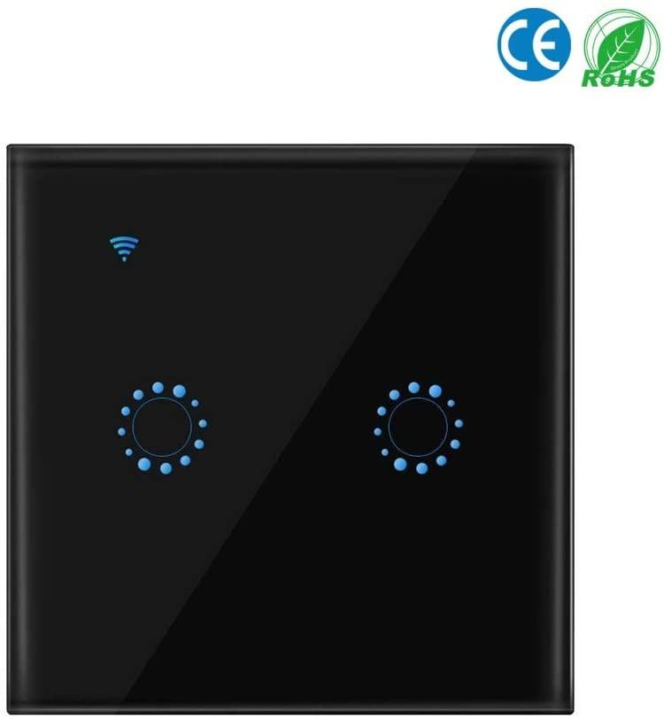 Interruptor inteligente padrão da ue, ewelink 2 gang 1 way casa interruptor de parede interruptor de toque de luz de parede sem fio wi-fi, precisa de linha neutra