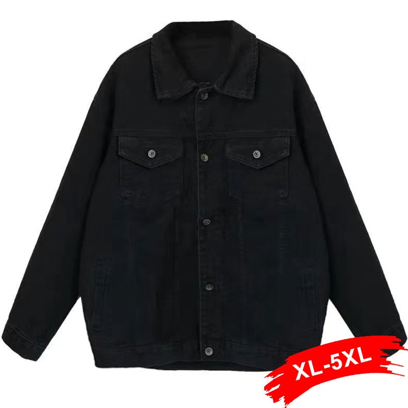Plus size namorado solto jeans preto casaco 4xl 5xl oversize mulheres denim jaqueta de manga comprida streetwear coreano harajuku mãe jean