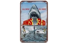 jaws 3 d 1983 modern metal tin signs movies home sign for restaurant decoration 8x12 inches
