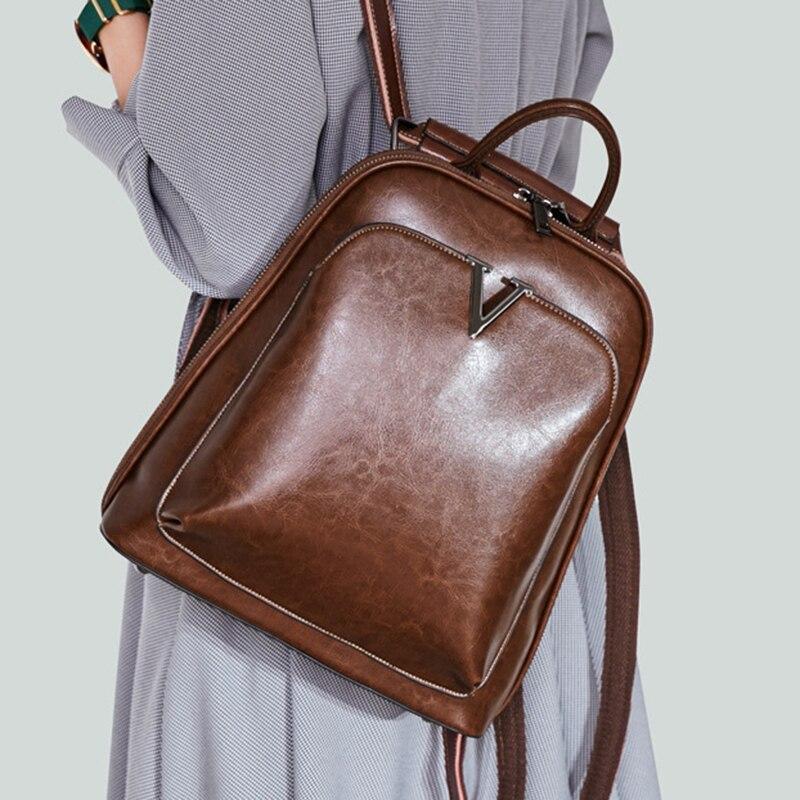 حقيبة ظهر من الجلد الطبيعي مع شمع الزيت للنساء ، حقيبة كتف ، حقيبة مدرسية ، جلد البقر ، نمط ريترو ، عصرية