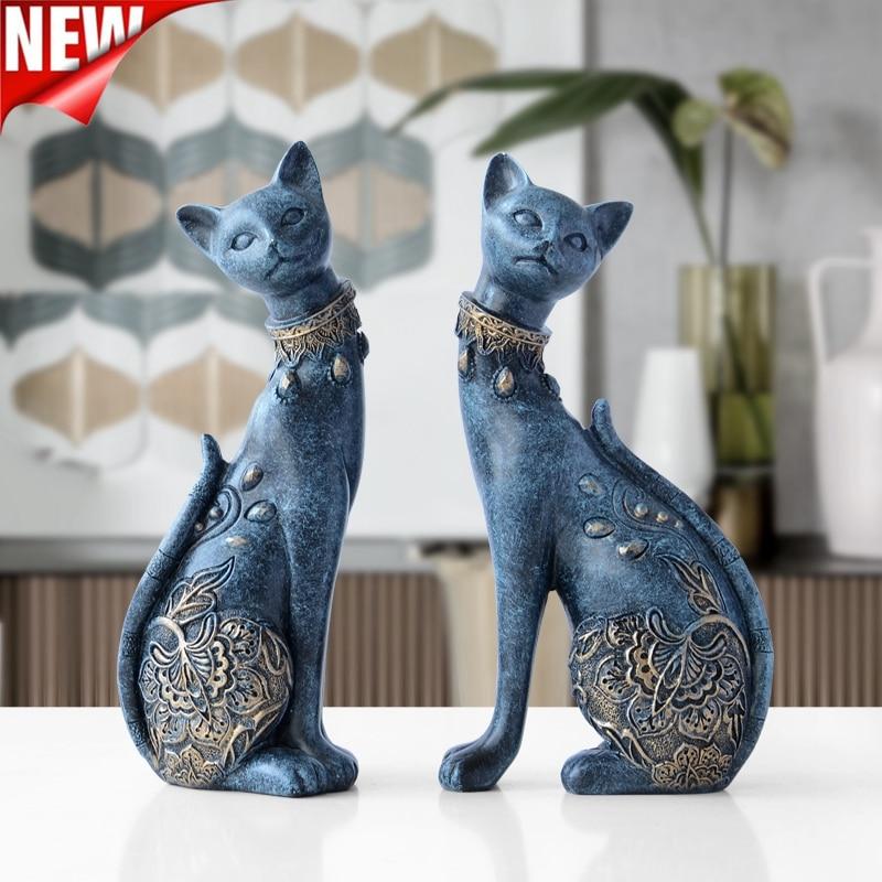 Estátua para Casa Presente de Casamento Decoração da Sua Estatueta Decorativa Resina Gato Decorações Europeu Criativo Animal Casa Escultura