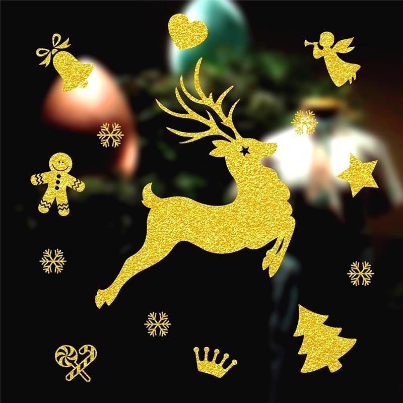 Natal декоративные переводные наклейки на окна 70*50 см съемные DIY Стеклянные Настенные Веселые Рождественские Елочные золотые наклейки в виде ...
