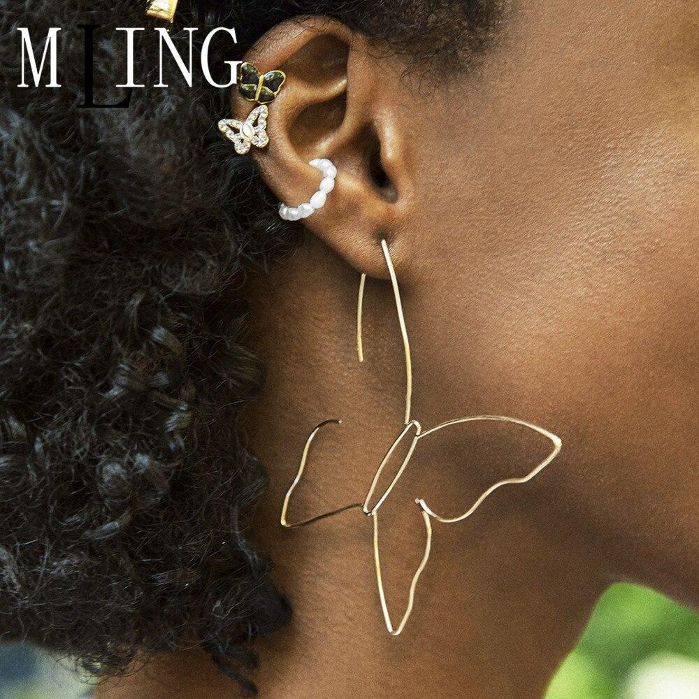Mling vintage liga de ouro brincos de cristal do parafuso prisioneiro moda pérola borboleta brincos conjunto para mulher