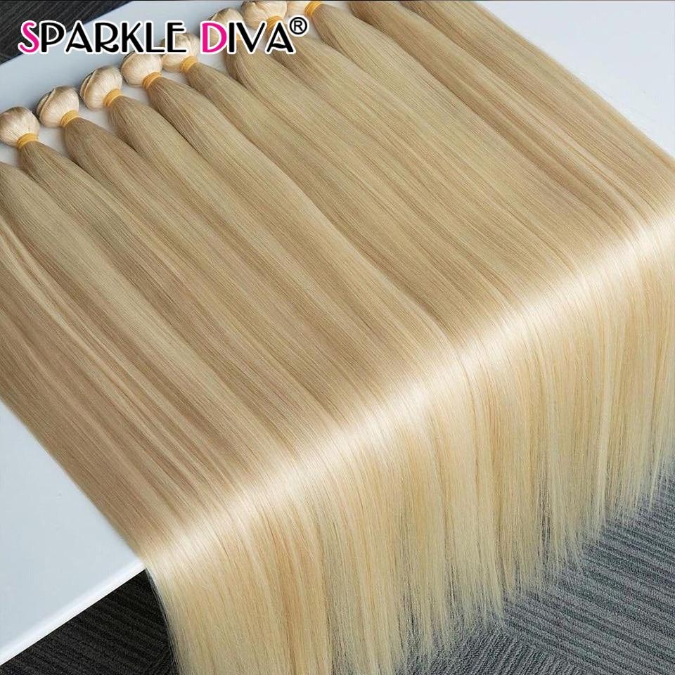 32 34 36 38 Inch 613 Honey Blonde Bundles Brazilian Hair Weave Bundles Strong Weft Straight Human Ha