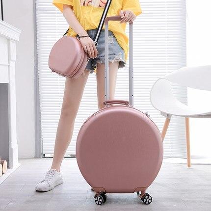 Round Suitcase Small Trolley Case Ladies 20-inch Light-Weight Lockbox Ins Boarding Suitcase Universal Wheel Avant-Garde Fashion