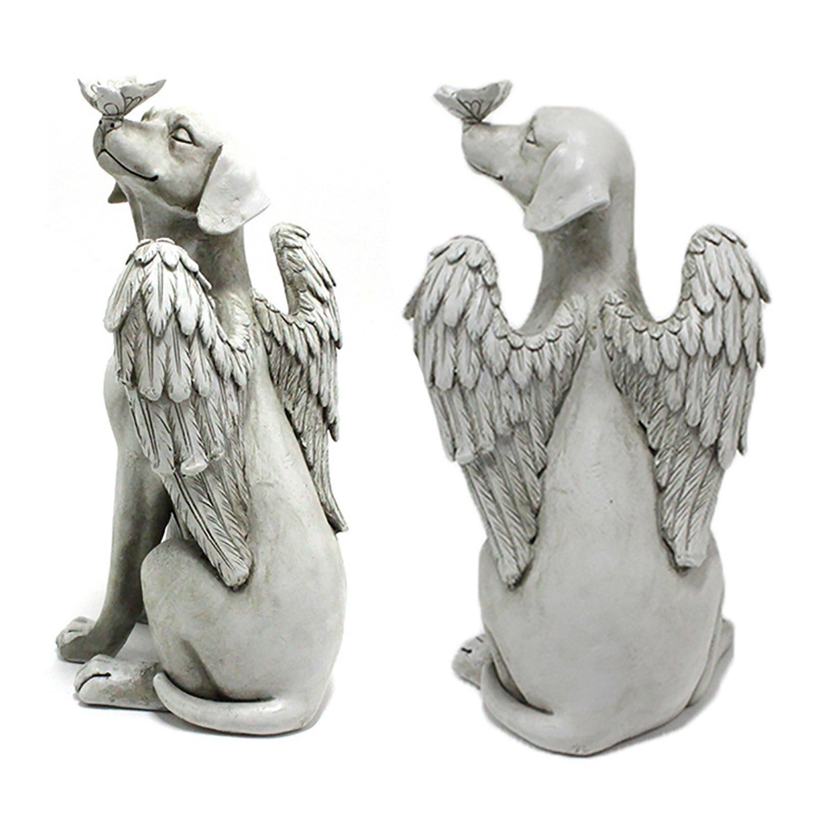 رائعة حديقة الكلب تمثال ملاك الجناح مضحك جرو الأنف جثم فراشة تمثال راتنج حديقة الحديقة الراتنج حلية