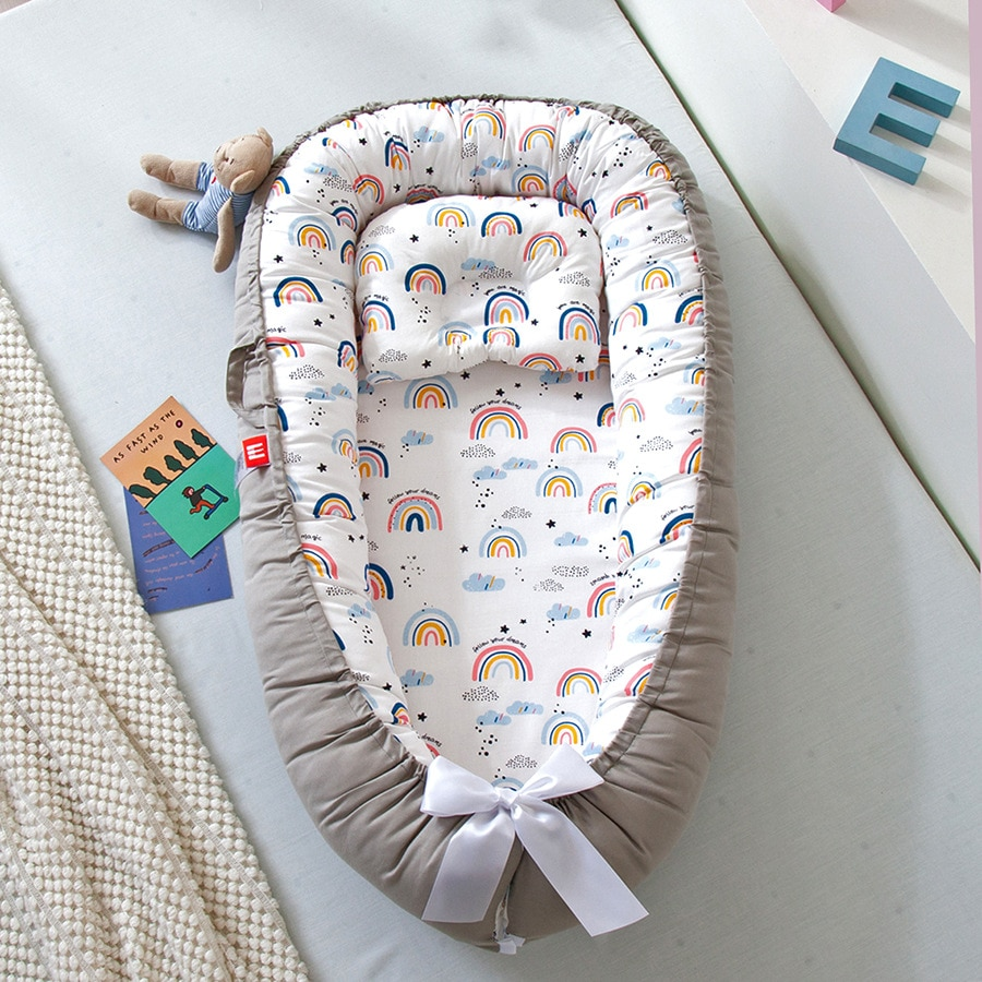 Newborn Baby Nest Bed Portable Crib Travel Bed Baby Lounger Bassinet Bumper with Pillow Cushion