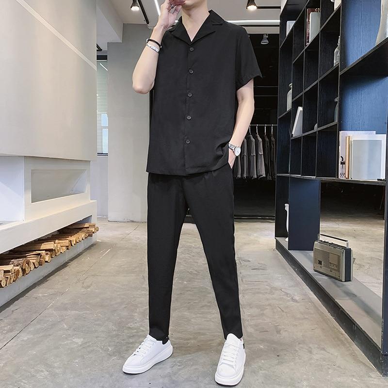 الرجال الزي مجموعة 2021 الصيف قميص قصير الأكمام الرجال الاتجاه اليابانية فضفاضة قميص غير رسمي تسع نقاط السراويل دعوى