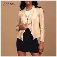 suede leather short jacket coats for women autumn winter turndown collar ladies jacket outerwear solid casual clothing custom