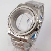 sub 40mm brand automatic watch case for nh35a seeing backcover screw crown unidirectional bezel sapphire glass