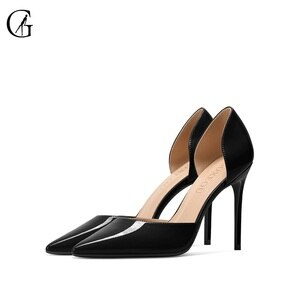 GOXEOU Women's Pumps Patent Leather D'orsay Black Pointed Toe High Heels Party Sexy Fashion Office Lady Shoes Size 32-46