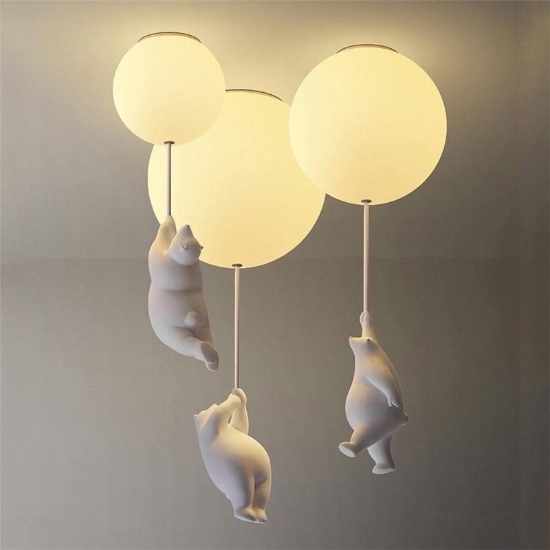 مصباح سقف LED بتصميم دب كرتوني ، تصميم حديث ، إضاءة داخلية ، إضاءة سقف زخرفية ، مثالية لغرفة النوم أو غرفة الأطفال أو غرفة المعيشة.