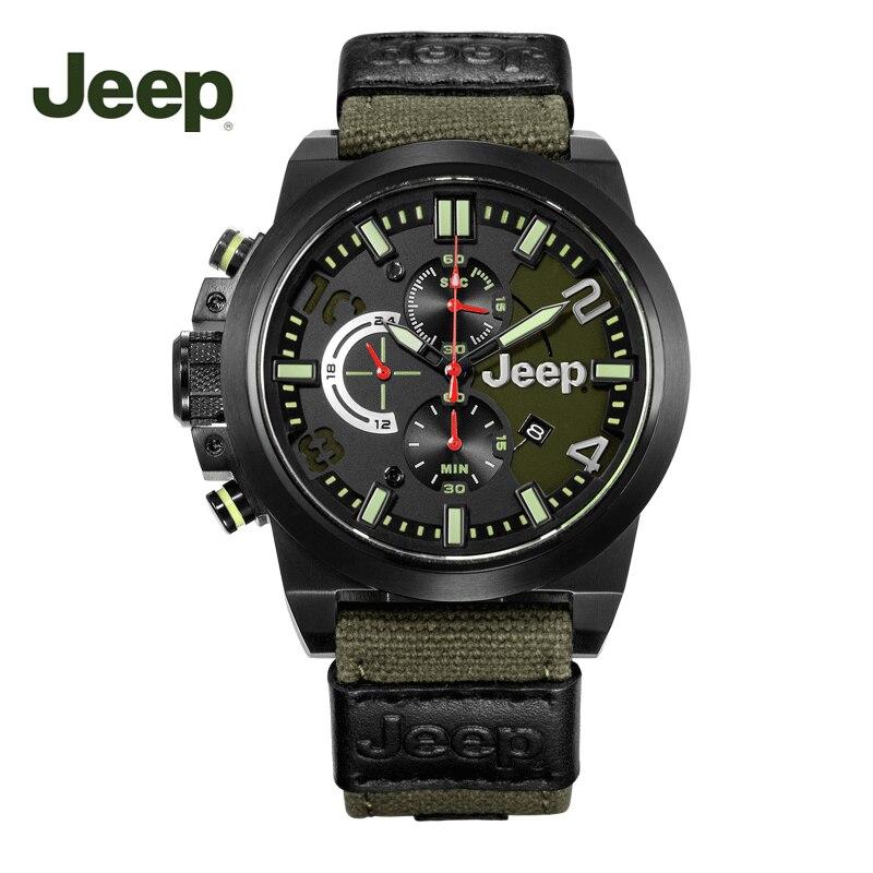 جيب ساعة رجالية متعددة الوظائف كبيرة ساعة مزدوجة الرياضة في الهواء الطلق ساعة رجالي شخصية قماش حزام ساعة كوارتز JPW609