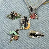 rose crow raven enamel pin bird feather moon flowers brooches bag lapel pin punk badge gothic jewelry gift for friends