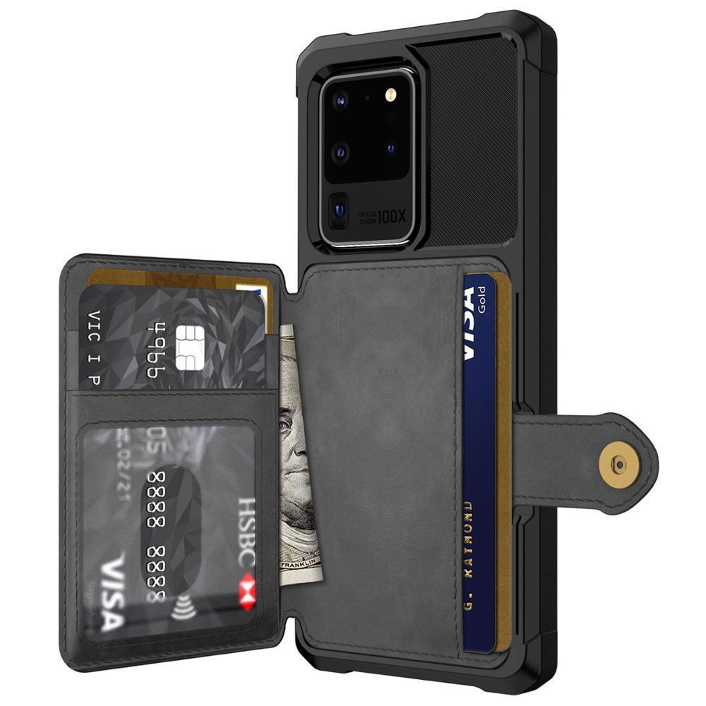 Pour Samsung Galaxy S9 S10 Plus S10e Note 9 10 étui pour cartes de crédit housse de portefeuille à rabat en cuir avec porte-photo