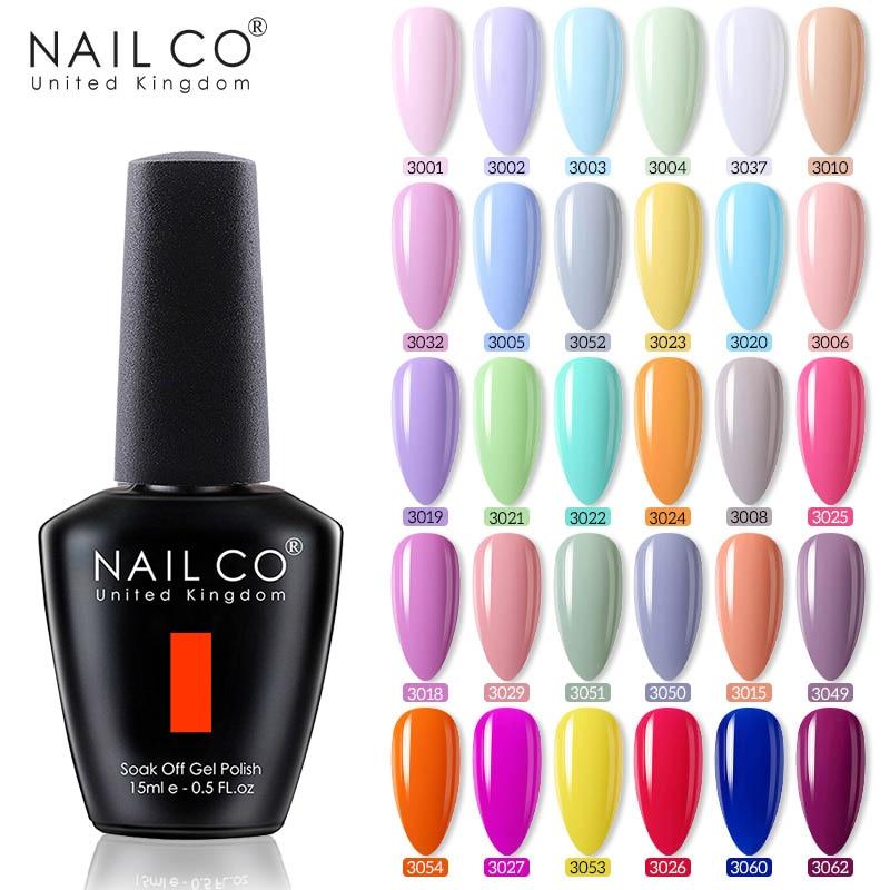 NAILCO Nude 40 Light Colors For Every season 15ml Nail Art Gel Varnish Soak Off UV Gel Nail Polish Semi Permanent Nail Art