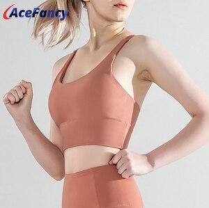 Acefancy Cross Straps Yoga Sport Bra Top Women Shockproof Push Up Running Gym Fitness Brassiere T2162 Women Sports Tops Wear