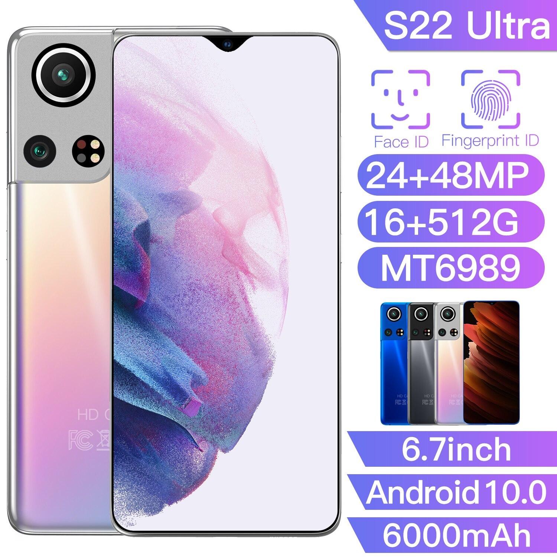 16GB + 512GB 5G هاتف ذكي Galxy S22 الترا 6000mAh بصمة معرف 24 + 48 ميجابكسل 6.7 بوصة عشاري النواة Andriod 10.0 الهواتف المحمولة MT6989