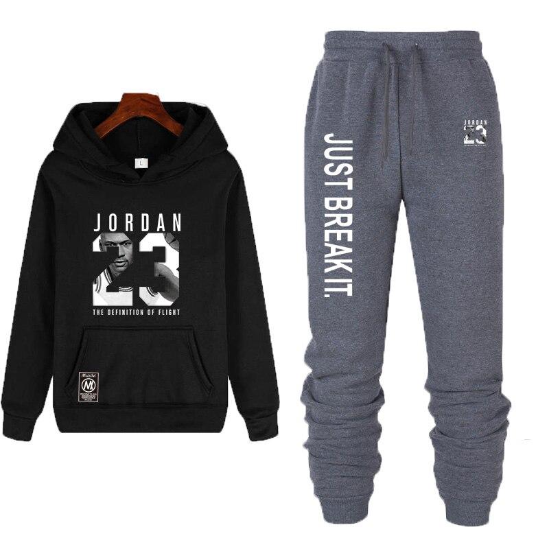 Nouveau hommes sweats à capuche Jordan 23 survêtement sweat costume polaire sweat + Jogging pantalons de survêtement Homme pull 3XL survêtement pour hommes