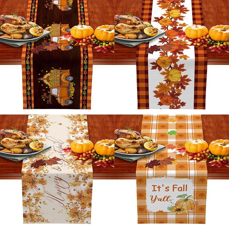 الشكر الخريف اليقطين منقوشة الجدول عداء الزفاف الفاخرة الديكور غطاء الطاولة عيد الميلاد الديكور Tablecloth