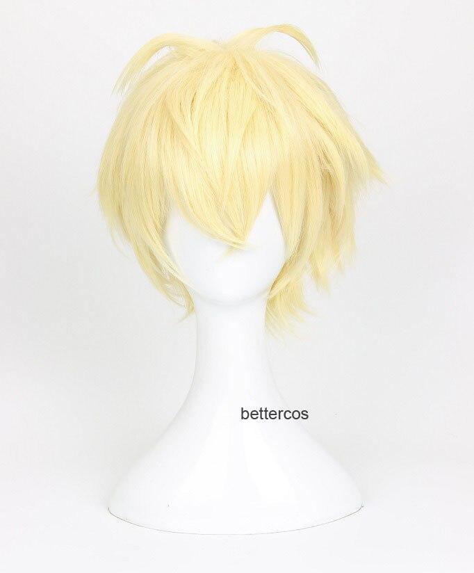 Seraph of the End Mikaela Hyakuya Cosplay pelucas corto Rubio Shaggy capa mullido resistente al calor Peluca de pelo sintético + peluca tapa