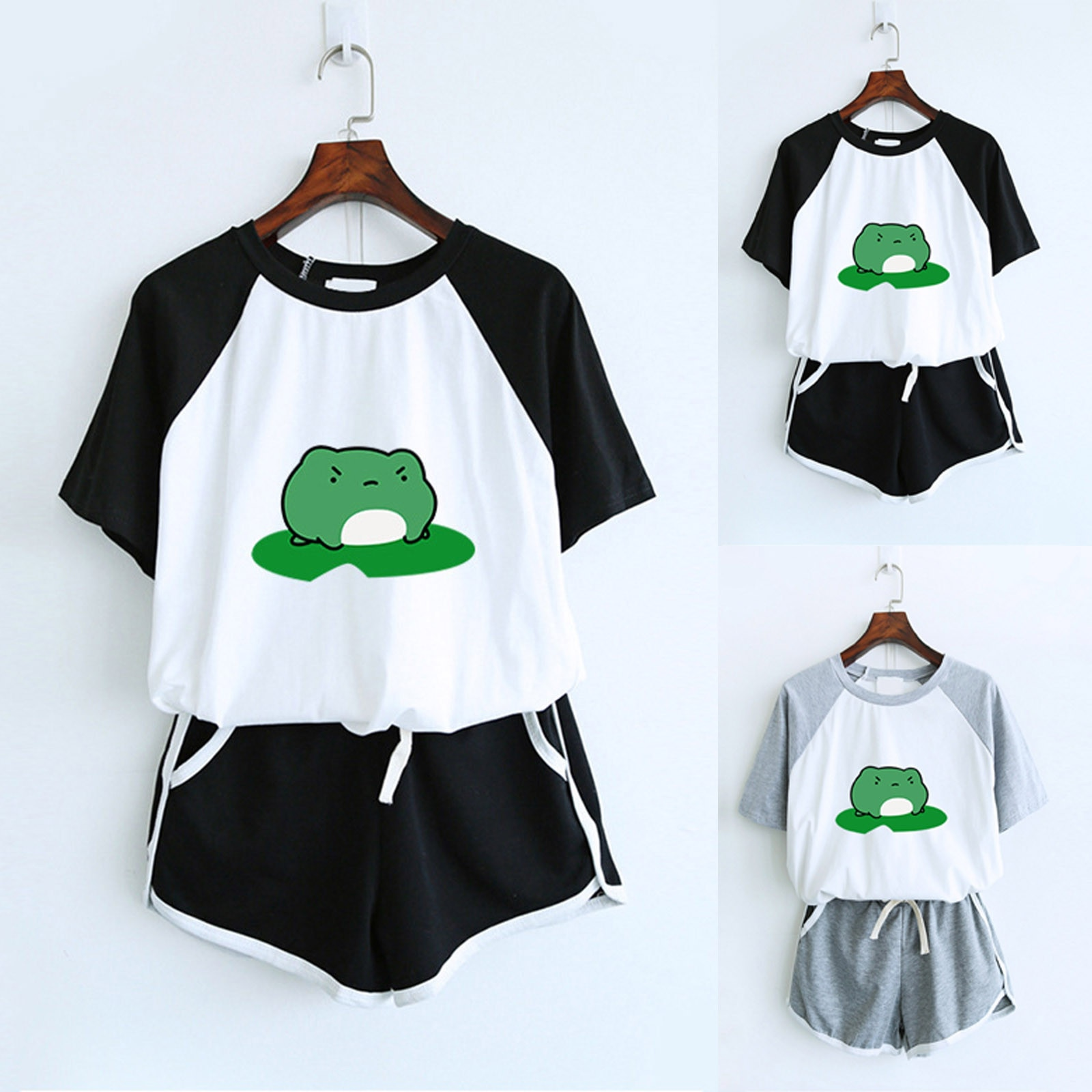 ISHOWTIENDA Women Two Piece Drop Sleeves Set Short Sleeve O-neck Paneled T Shirt Shorts Женские Спортивные Костюмы Women Set