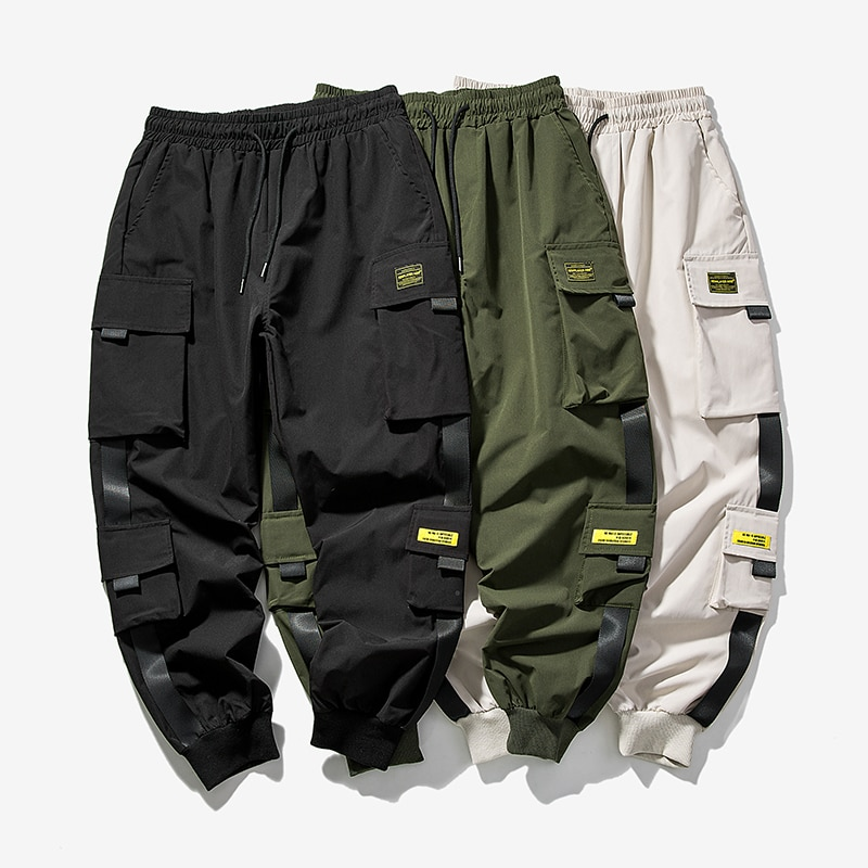 2021 New Hip Hop Joggers Cargo Pants Men Harem Pants Multi-Pocket Ribbons Man Sweatpants Streetwear Casual Mens Pants S-5XL