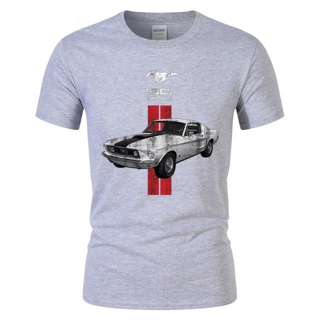 גברים חולצה פורד מוסטנג Mens חולצת טי חסון שרירים זכר fit t חולצה מוסטנג 50 שנים קלאסי רכב לוגו טי נוער רחוב topshirts