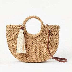 NEW tassel Handmade Half-Round Rattan Woven Straw Bag Summer Women Messenger Crossbody Bags Girls Beach Handbag 2020
