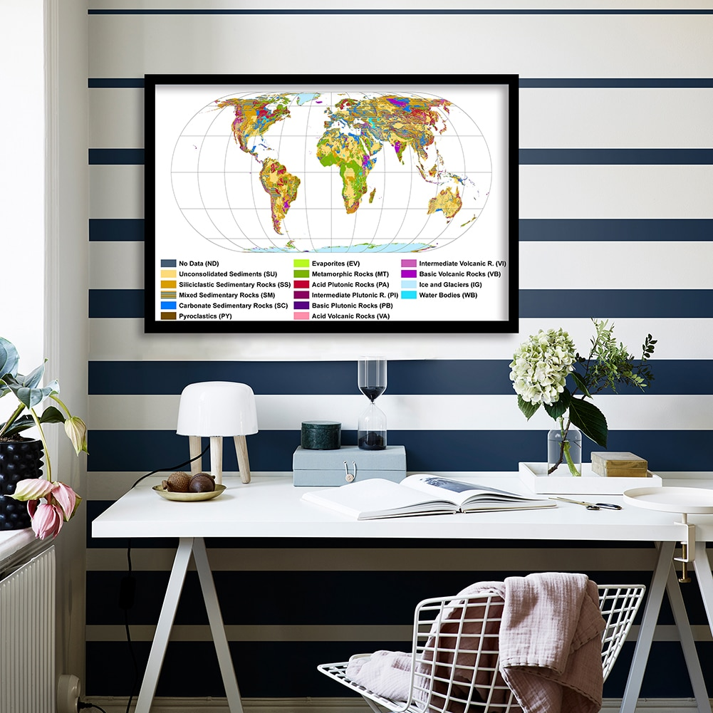 90*60cm The World Geological Map Decorative Wall Art Poster Canvas Painting  Living Room Home Decoration School Supplies