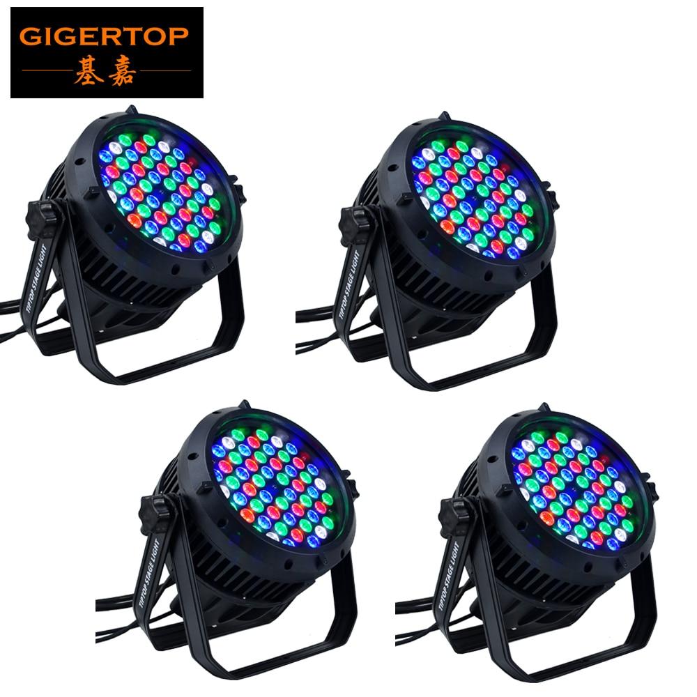 4 uds/lote de luz LED Par 64 resistente al agua 54x3W RGBW de alta calidad, DMX 8 canales, latas Par Led 54 uds, impermeable IP 65 Luz de escenario