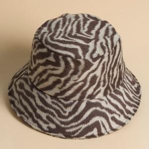 Zebra plush vintage fisherman hat plush hat winter fashion trendy basin hat winter warm stripes fashion