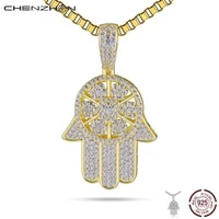 chenzhon prata 925 colar hand pendant fine jewelry evil turkish lucky hip hop punk style dropshipping necklaces men pingente