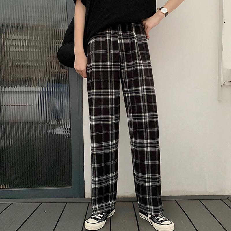 Женские клетчатые брюки HOUZHOU, свободные спортивные штаны прямого кроя в Корейском стиле, клетчатые брюки с высокой талией