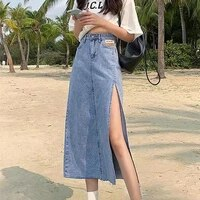 fashion hem single slits zipper a line womens summer skirt large size streetwear casual skirts with high waist young style