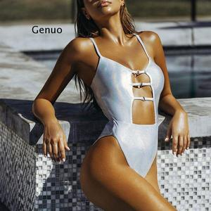 One Piece Silver Smooth Suits Sexy Push Up Halter Swimwear Women High Waist Monokini Bandage Bathing Suit Summer Bather Swimsuit