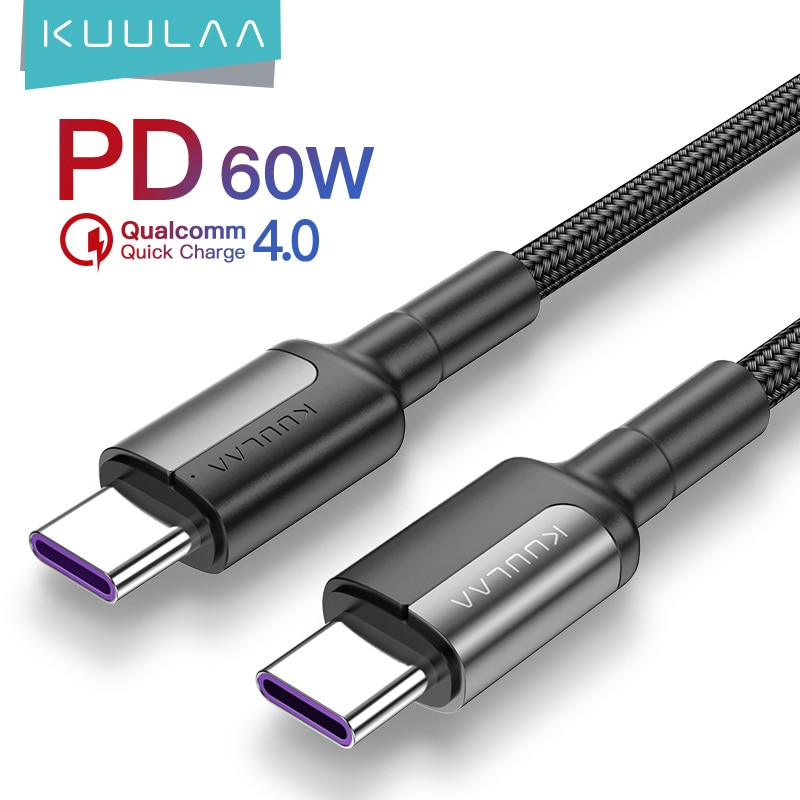 AliExpress - KUULAA USB C to USB type c cable PD QC 60W for xiaomi mi 10 9 redmi note 8 7 type-c cable Quick Charge 4.0 fast charging USB-C
