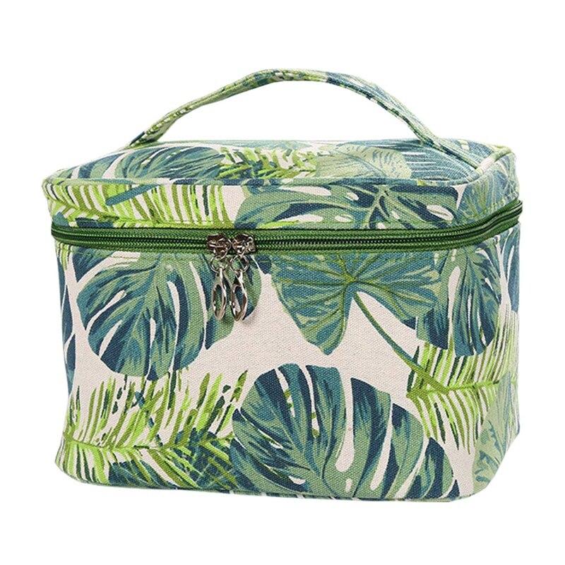 ASDS-bolsas de maquillaje de lona para mujer, bolsa de viaje, bolso de mano, hojas verdes, bolso organizador con cremallera