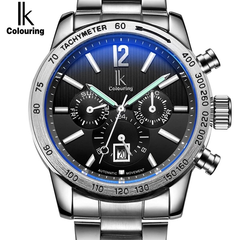 IK Brand Luxury Automatic Mechanical Men's watch 24 Hours Calendar Luminous Silver Full Steel Business clock Timepieces relojes