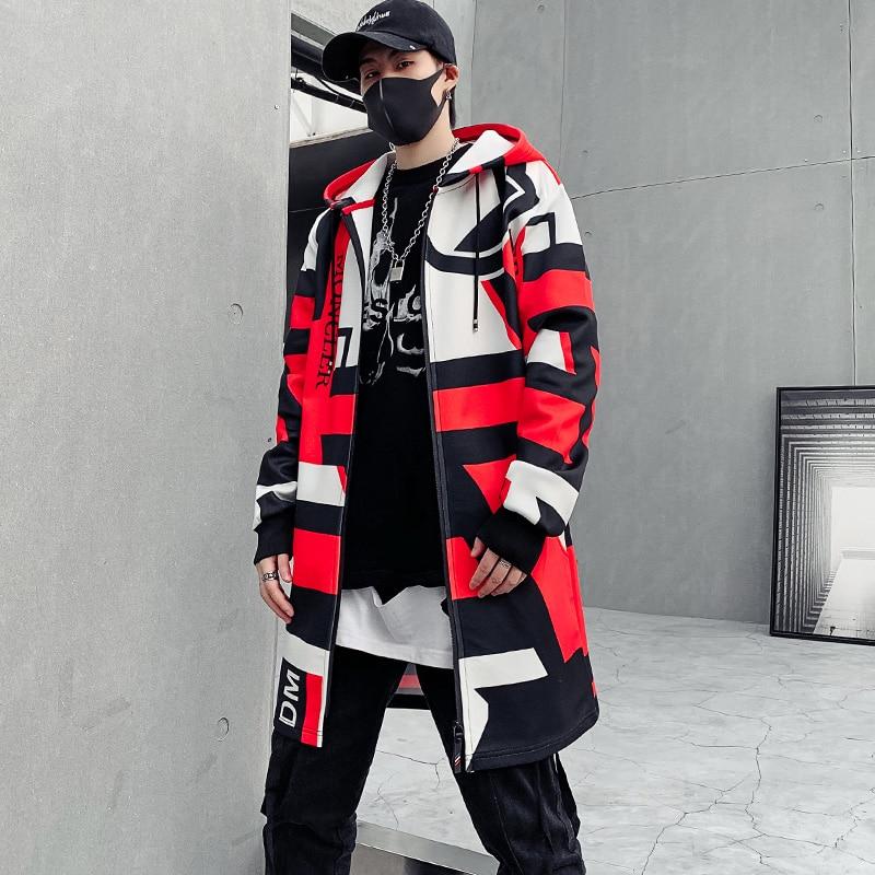 Trench Coat Men Hooded Jacket Hip Hop Streetwear Hood Coat For Man Fashion Autumn