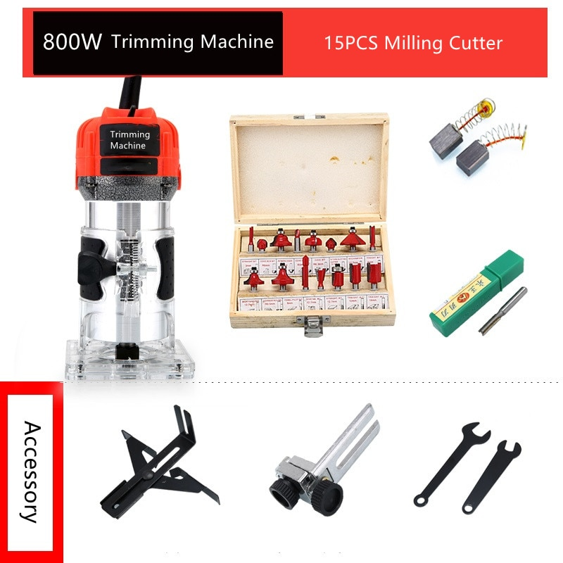 AliExpress - 800W Woodworking Electric Trimmer 30000 RPM Wood Engraving Slotting Trimming Machine Carving Router Slotting With Milling Cutter