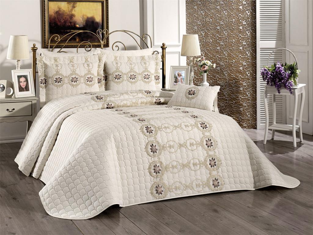 Melina كريم غطاء سرير مزدوج