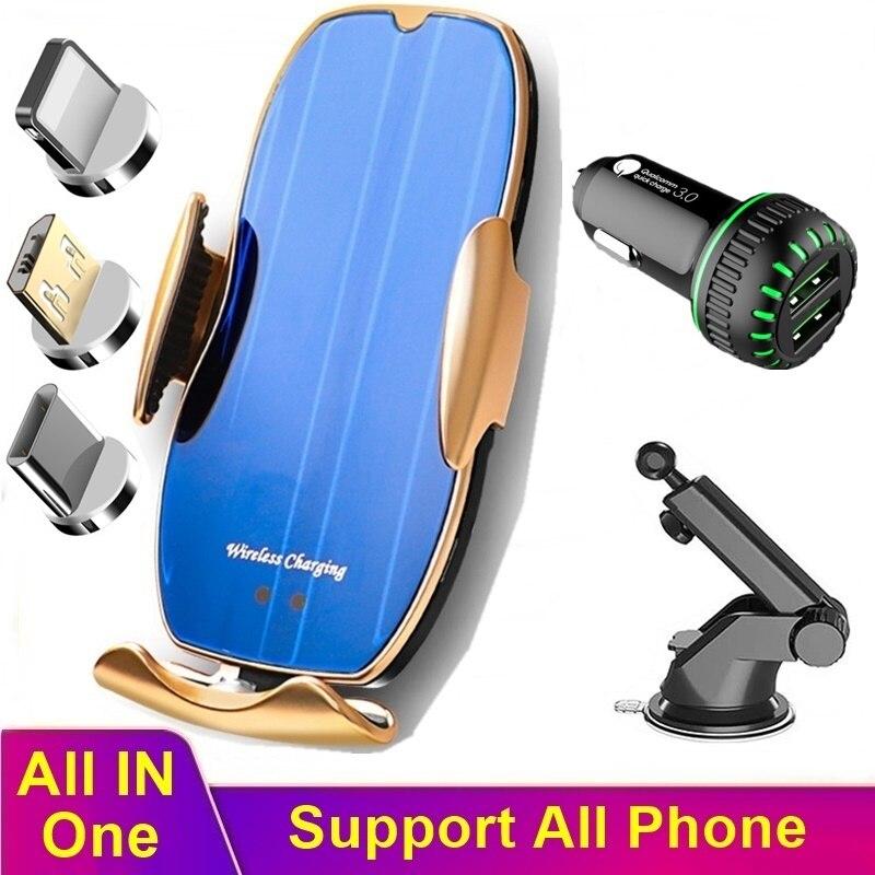 Cargador inalámbrico Tongdaytech de 15W para Iphone 11, Samsung, Sensor automático, cargador rápido magnético para teléfono móvil de coche